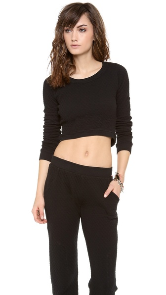 SOLOW Diamond Quilted Crop Top