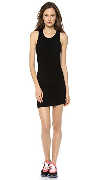 SOLOW Mini Mesh Dress with Shirred Seam