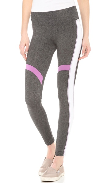 Solow Running Pants With Contrast Piecing - Heather Charcoal/White/Amelia