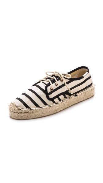 Soludos Canvas Platform Derby Flats - Natural/Black at Shopbop / East Dane