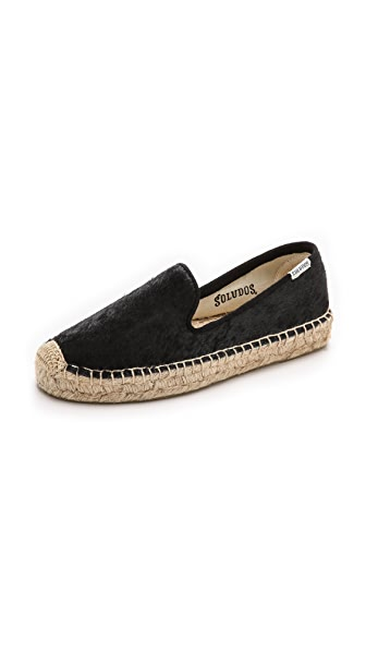 Soludos Soludos Platform Haircalf Smoking Slippers (Black)