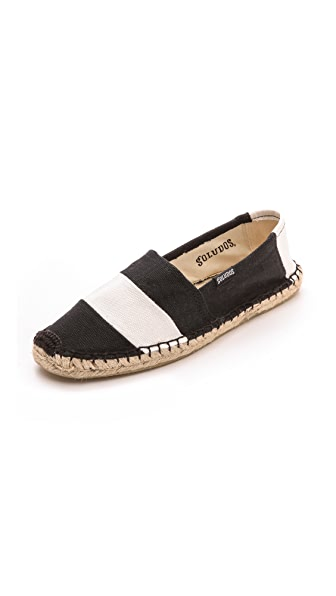 Shop Soludos online and buy Soludos Barca Striped Espadrilles Black/White online