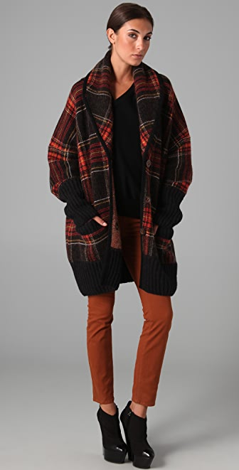 sonia rykiel oversized plaid sweater jacket shopbop save up to 25 use code bigevent16. Black Bedroom Furniture Sets. Home Design Ideas