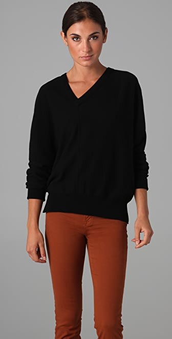 Sonia Rykiel Off Center V Neck Sweater