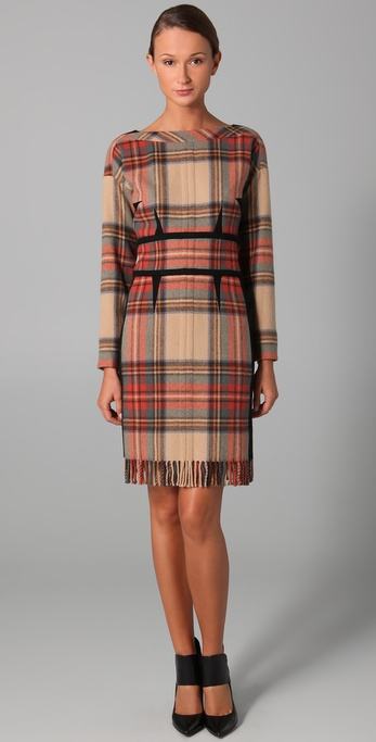Sonia Rykiel Plaid Long Sleeve Dress