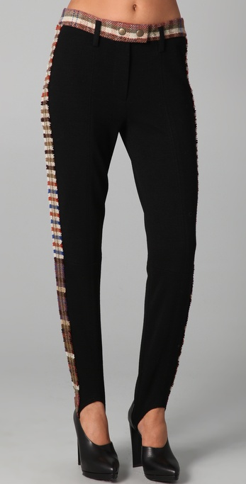 Sonia Rykiel Plaid Trim Pants
