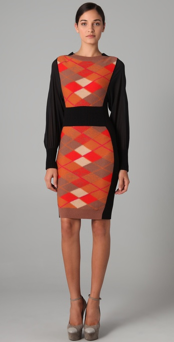 Sonia Rykiel Argyle Sweater Dress