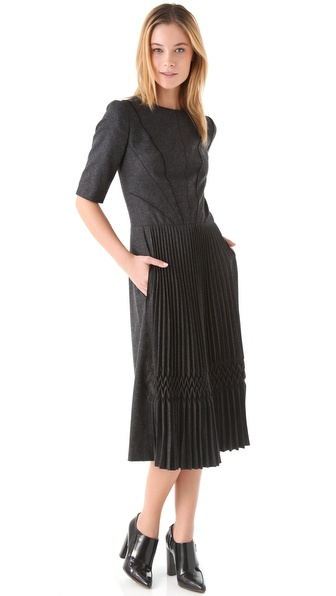 Sonia Rykiel Charcocal Pleated Dress