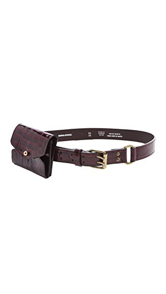 Sonia Rykiel Embossed Croc Belt with Pocket