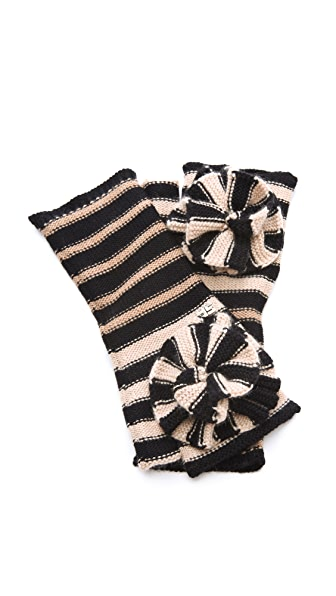 Sonia Rykiel Tricolor Mittens with Flower