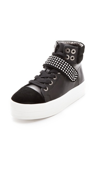 Sonia Rykiel High Top Sneakers with Crystal Velcro Strap