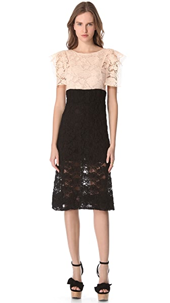 Sonia Rykiel Short Sleeve Lace Dress