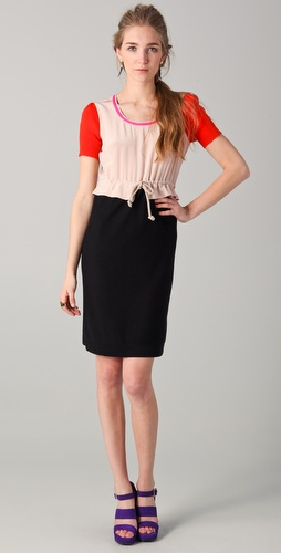 Sonia by Sonia Rykiel Short Sleeve Colorblock Dress
