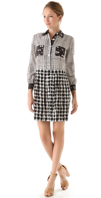 Sonia by Sonia Rykiel Check & Flower Dot Shirtdress