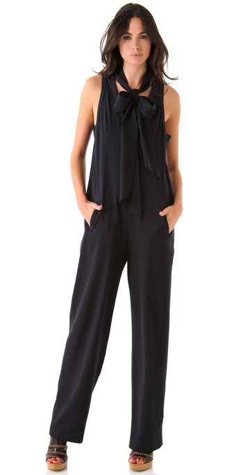Sonia by Sonia Rykiel Tie Neck Sleeveless Jumpsuit