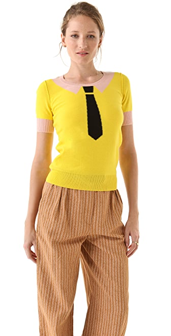 Sonia by Sonia Rykiel Cotton Short Sleeve Tie Sweater
