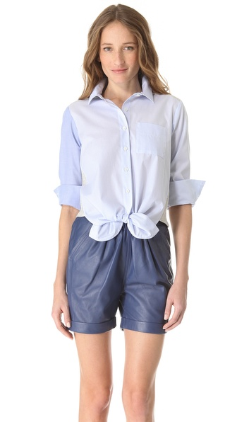 Sonia by Sonia Rykiel Cotton Combo Tie Shirt