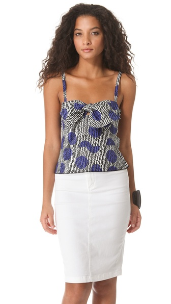 Sonia by Sonia Rykiel Printed Poplin Bustier Top
