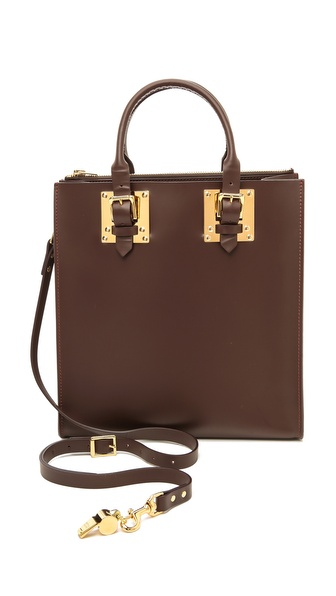 Sophie Hulme Square Zip Top Buckle Tote
