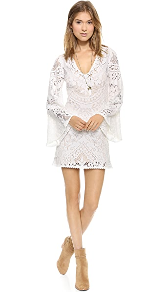 SPELL White Dove Vintage Lace Mini Dress