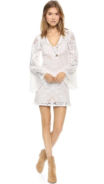 SPELL White Dove Vintage Lace Mini Dress