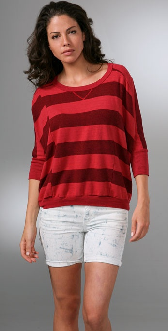 Splendid Charcoal Rugby Stripe Top