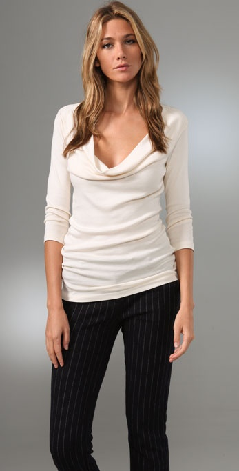 Splendid 1x1 Cowl Neck Tee