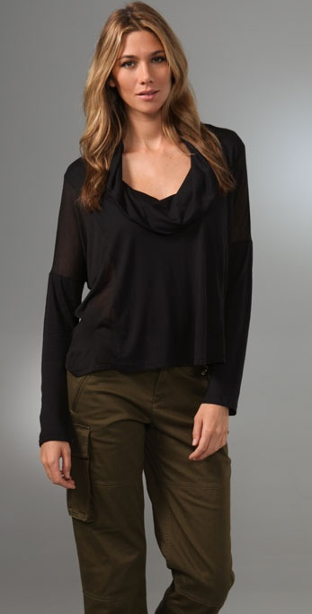 Splendid Sheer/Opaque Knits Cowl Neck Top