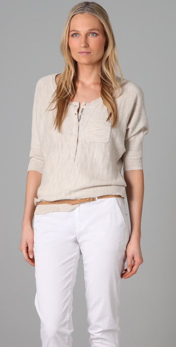 Splendid Textured Slub Cotton Dolman Sweater