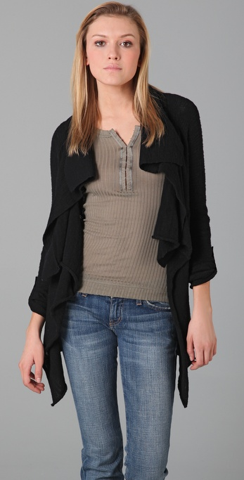 Splendid Textured Slub Cotton Cardigan