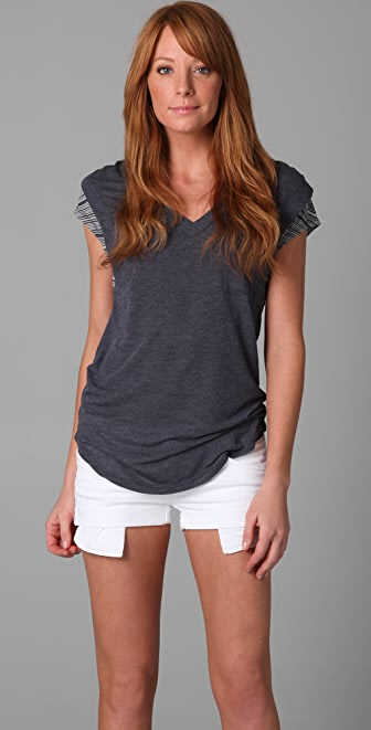 Splendid Burnout Stripe V Neck Tee