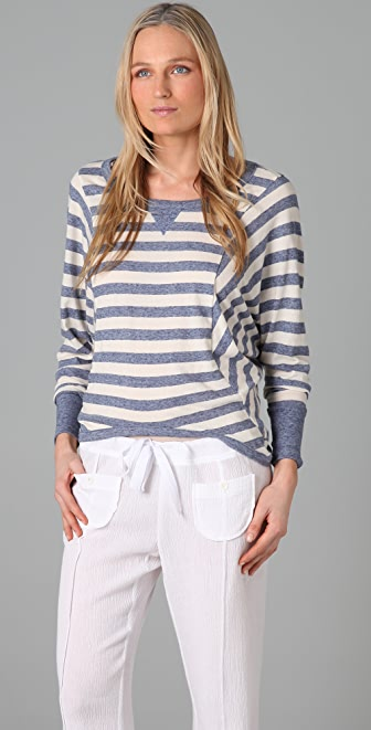 Splendid Oatmeal Streaky Stripe Long Sleeve Tee