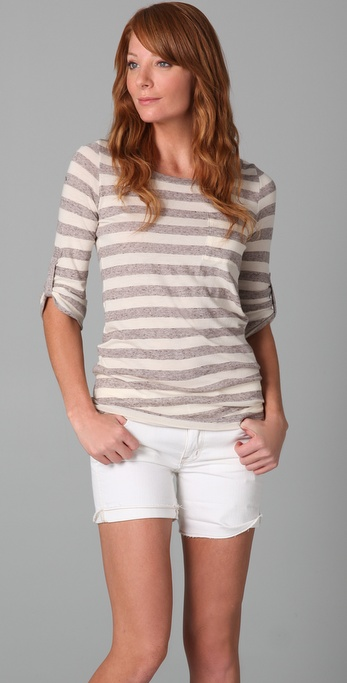 Splendid Oatmeal Streaky Stripe Long Tee