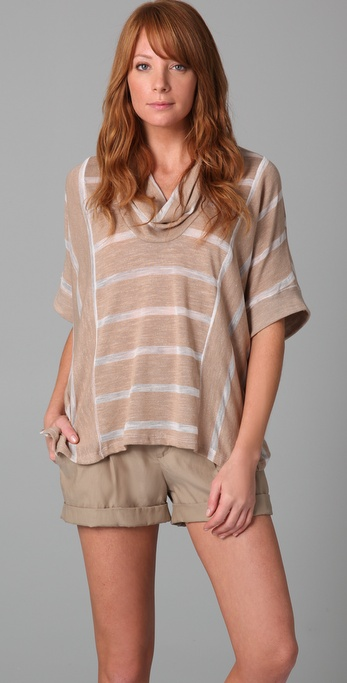 Splendid Loose Knit Stripe Cowl Tee