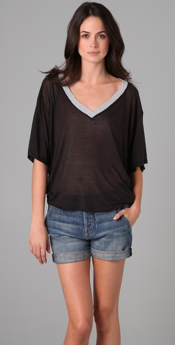 Splendid Sheer & Drapey V Neck Tee