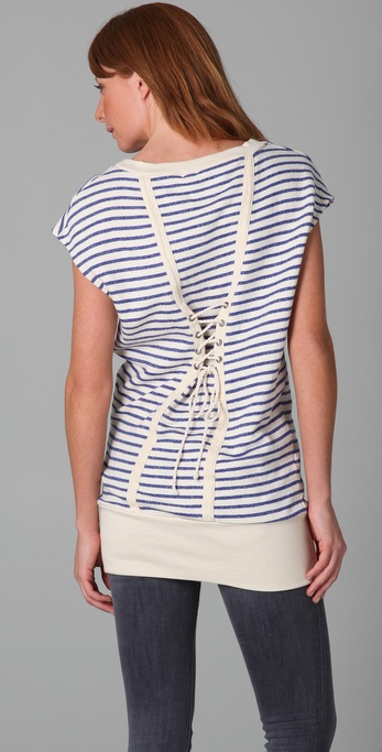 Splendid Nautical Stripe Active Lace Back Tunic