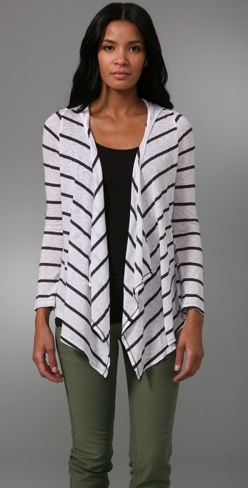 Splendid Charcoal Stripe Hooded Cardigan
