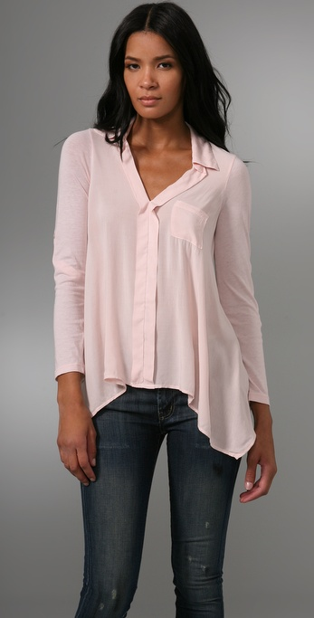 Splendid Asymmetrical Button Up Blouse