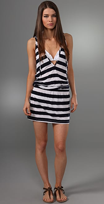 Splendid Striped Suzy Hooded Cover Up Dress