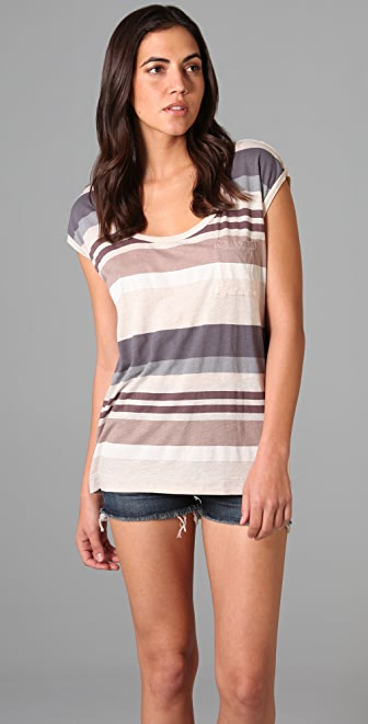 Splendid Heather Stripe Pocket Tee