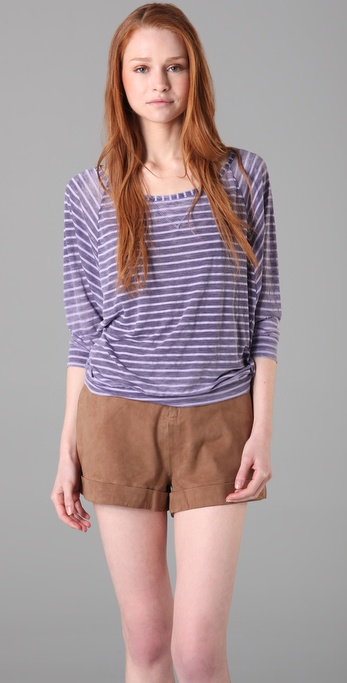 Splendid Distressed Breton Stripe Top