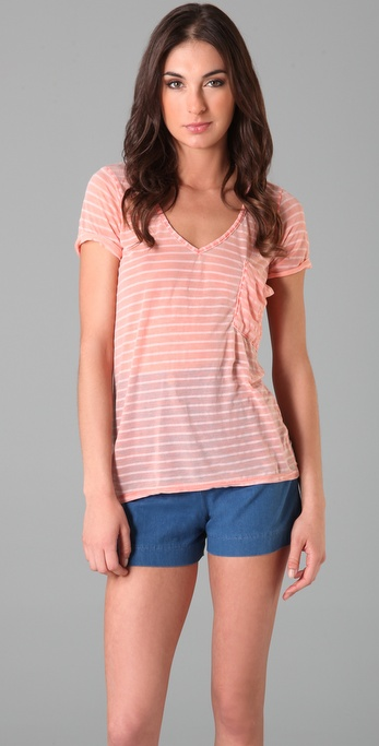 Splendid Distressed Breton Stripe Pocket Tee