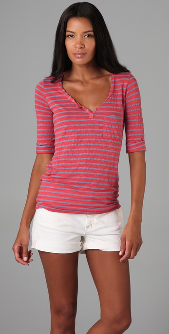 Splendid Chambray Stripe Top