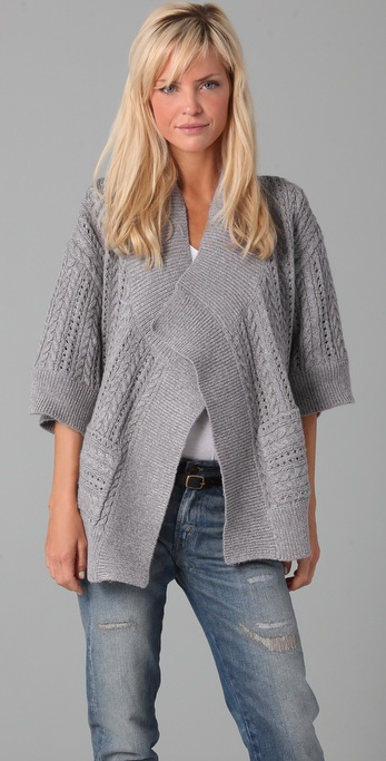 Splendid Heathered Cable Knit Cardigan