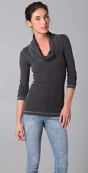 Splendid Distressed Thermal Cowl Top