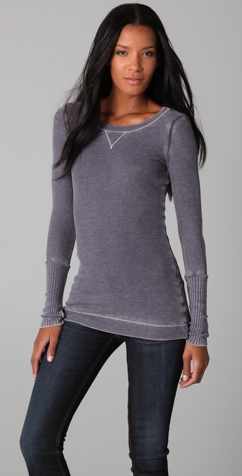 Splendid Distressed Thermal Tee