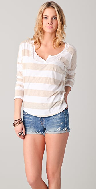 Splendid Oatmeal Mixed Stripe Top
