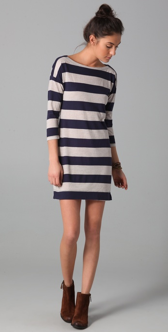 Splendid Oatmeal Mixed Stripe Dress