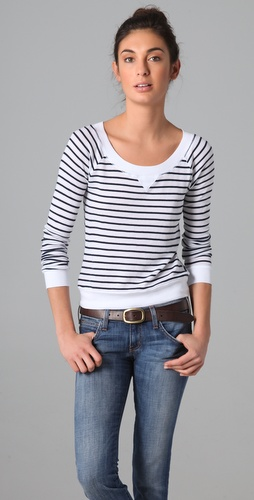 Splendid Navy Stripe Thermal Pullover