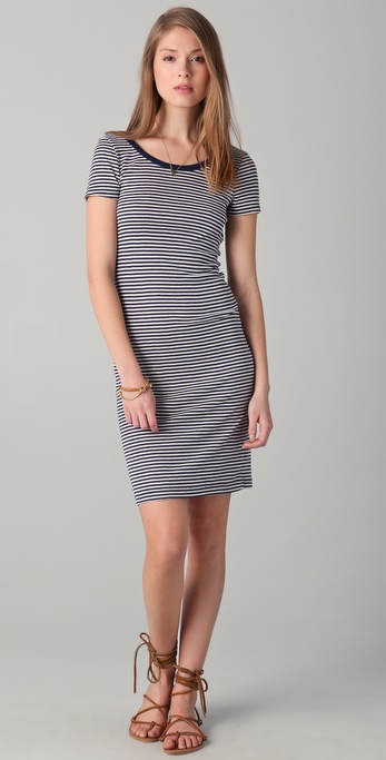 Splendid Oatmeal Stripe Scoop Back Dress